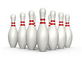 Bowling skittles pins with red stripes standing isolated on white background Stock Photos