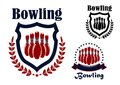 Bowling sports game graphic emblem blue and red with ninepins wreath and shield elements Royalty Free Stock Photos