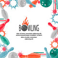 Bowling square border isolated on white for your design. Royalty Free Stock Photo