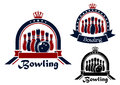Bowling symbol or emblem in round frame blue red and black with stars crown and ribbon Stock Photos