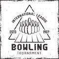 Bowling tournament vector vintage label or emblem Royalty Free Stock Photo