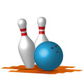 Bowling two pins with blue ball Stock Photo