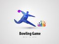 Bowling vector logo design template. game or