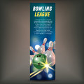 Bowling vertical banner with bowling champ club and leagues symbols realistic