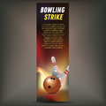 Bowling vertical banner with bowling champ club and leagues symbols realistic isolated