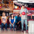 Bowling young people play the Stock Photography