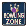 Bowling zone vintage metal sign