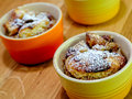 Bowls of baked bread pudding ready to eat Stock Photos