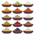 Bowls of cereals and legumes Royalty Free Stock Photo