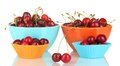 Bowls and cutters with cherries Royalty Free Stock Photo