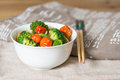 Bowls of variety vegetables on table Royalty Free Stock Photos