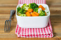 Bowls of variety vegetables on table Royalty Free Stock Images