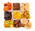 Bowls of various dried fruits top view Royalty Free Stock Image