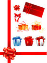 Bows, gift boxes, ribbons Stock Image