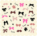 Bows and hearts backgroud Royalty Free Stock Images