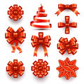 Bows ribbons collection of red festive decorations gift and Royalty Free Stock Photography