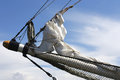 Bowsprit with foresail of a barquentine Royalty Free Stock Photo