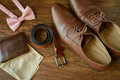 Bowtie, brown leather shoes, pocket square Royalty Free Stock Photo