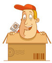 In a box abe the tourist inside carton Royalty Free Stock Photo