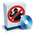 Box with anti-spy sign and CD Royalty Free Stock Photo