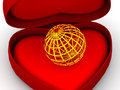 Box as heart with  a globe Stock Photo