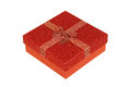 Box with a bow red gift cardboard ribbon and Stock Image