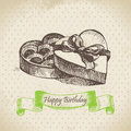 Box of chocolate happy birthday hand drawn illustration Stock Photos