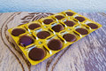 Box of chocolate a lovely sweet and fresh on a table under the natural day light Stock Photo
