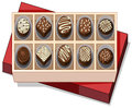 Box of chocolate with red lid