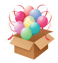 A box of colorful balloons illustration on white background Stock Photo