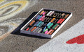 Box of creativity colored chalks that are used by a street artist Royalty Free Stock Images