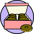 Box of donuts vector illustration Stock Photos