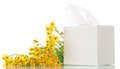 Box with facial wipes and yellow flowers allergenic Stock Photography