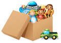 A box full of different toys illustration on white background Royalty Free Stock Photo