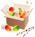 Box full of easter eggs Stock Photos
