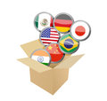 Box full of flags illustration design over a white background Stock Photography