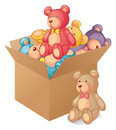 A box full of toys illustration on white background Royalty Free Stock Photo