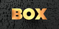 Box - Gold text on black background - 3D rendered royalty free stock picture Royalty Free Stock Photo