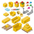 Box goods crate storage delivery warehouse concept