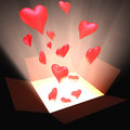 Box heart open with and light inside concept of love Royalty Free Stock Image