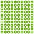 100 box icons hexagon green