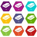 Box icons set 9 vector Royalty Free Stock Photo