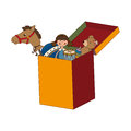 Box with kids toys isolated icon