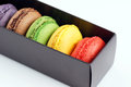 Box of macaroons delicious and colorful Stock Photo