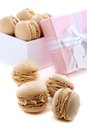 Box of macaroons on a white background Stock Photography