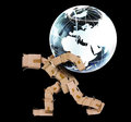 Box man carrying a globe Royalty Free Stock Photo