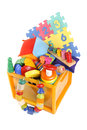 Box with many toys very Royalty Free Stock Photos