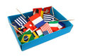 Box of miniature flags Royalty Free Stock Images