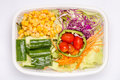 A box of mixed fresh vegetables salad, diet and healthy food con Royalty Free Stock Photo