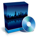 Box with modern city at night and CD Royalty Free Stock Image